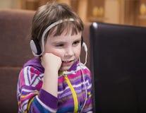 Girl Using Laptop. Royalty Free Stock Images