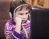 Girl Using Laptop. Royalty Free Stock Photo