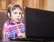 Girl Using Laptop. Stock Image
