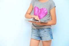 Girl using a mobile device Stock Image