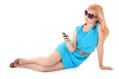 Girl using mobile phone over white background Stock Photo