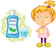 A Girl Using Mouth Wash Stock Photo