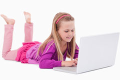 Girl using a notebook Royalty Free Stock Photo
