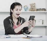 Girl using phone Royalty Free Stock Images