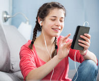 Girl using phone Royalty Free Stock Photography