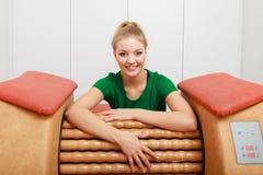 Girl using relax massage equipment spa Stock Photo