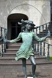Girl using skipping rope. Bronze girl using skipping rope Stock Photos