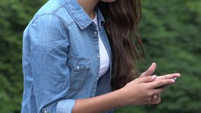 Girl Using Smart Phone stock video footage