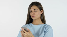 Girl Using Smartphone, White Background in Studio. Young Designer , Creative Designer stock video
