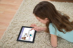 Girl Using Social Networking Site Stock Images