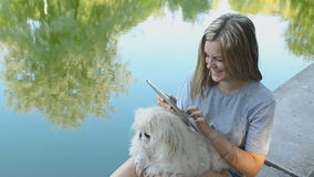 Girl Using Tablet In The Park. Girl with dog using tablet stock footage
