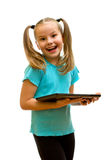 Girl using tablet PC. Royalty Free Stock Photos