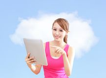 Girl using tablet pc and finger point cloud. Beautiful girl happy using tablet pc computer and finger point to white cloud ( great for copy space ) with blue sky Royalty Free Stock Image