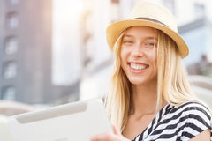 Girl using tablet pc Stock Photography