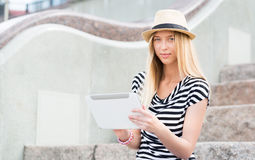 Girl using tablet pc Stock Photos