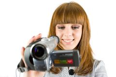 Girl using video camera Stock Photography