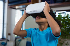 Girl using virtual reality headset. In clinic royalty free stock images