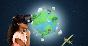 Girl using virtual reality headset with digitally generated travel icons 4k