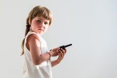 Girl using walkie-talkie Stock Image