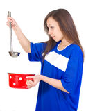 Girl with utensil Stock Image