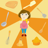 Girl and utensils Royalty Free Stock Photos