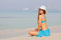 Girl on vacation or holiday in Mallorca Spain. Stock Image