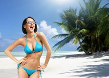 Girl on vacation, Indian ocean. Concept of summer holidays and traveling Royalty Free Stock Photo