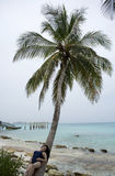 Girl in Vacation under a palm tree. Royalty Free Stock Photos
