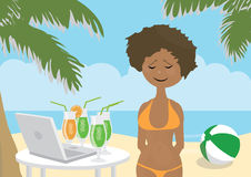 Girl on vacations missing her friends Royalty Free Stock Photo