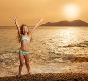 Girl at vacations on sea Stock Photography