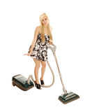 Girl with vacuum. Royalty Free Stock Photos
