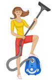 Girl with a vacuum cleaner Stock Photos