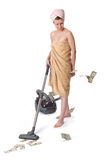 Girl with a vacuum cleaner Stock Photo