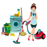 Girl with a vacuum cleaner Stock Photography