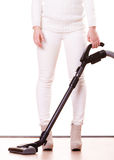 Girl with vacuum cleaner. Housework Royalty Free Stock Image
