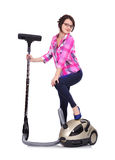 Girl with vacuum cleaner Stock Photos