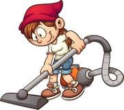 Girl vacuuming Stock Images