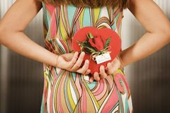 Girl with Valentine Royalty Free Stock Photography