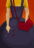 Girl with valentine bag. A girl with the heart-shaped bad is dropping valentines Royalty Free Stock Images