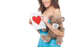 Girl with Valentine card. Royalty Free Stock Photography