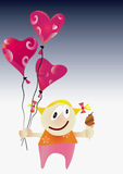 Girl with Valentine day balloons. Royalty Free Stock Photography