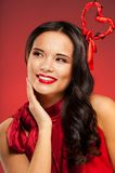 Girl with Valentine day hairstyle Royalty Free Stock Photography