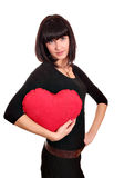 Girl with valentine red heart Royalty Free Stock Photos
