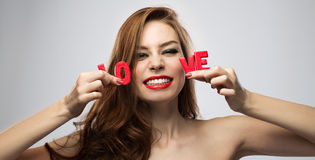 Girl on Valentine's Day Stock Photo