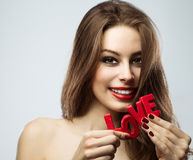 Girl on Valentine's Day Stock Photography