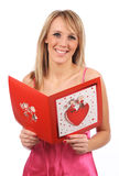 Girl with valentines card Royalty Free Stock Images