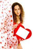 Girl with Valentines card Stock Images