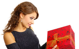 Girl with valentines gift Royalty Free Stock Photo