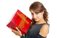 Girl with valentines gift Royalty Free Stock Photography