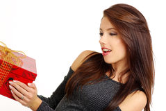 Girl with valentines gift royalty free stock image